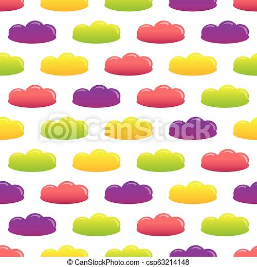 Seamless pattern of colorful cartoon jelly candies. - csp63214148