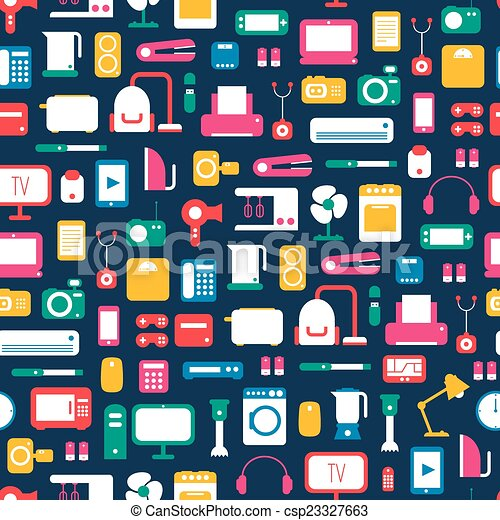Seamless Pattern Of Electronic Devices And Home Appliances Colorful Icons Set In Flat Style