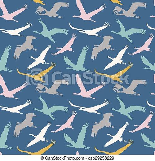 Seamless Pattern Of Flying Birds Dark Background Vector Endless