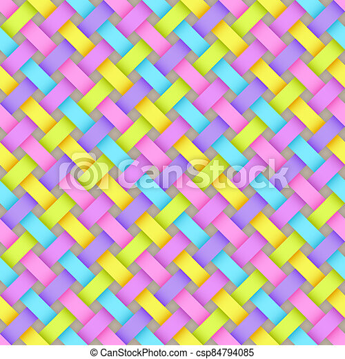 Seamless Pattern of Gradient Light Blue, Light Green, Lilac, Pink, Yellow Rectangles. Stylized Texture of Weave. - csp84794085