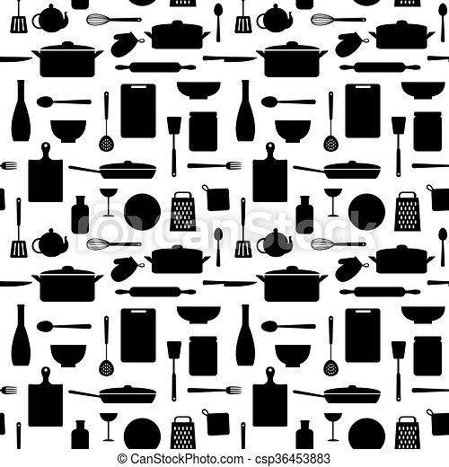 Seamless pattern of kitchen silhouettes - csp36453883