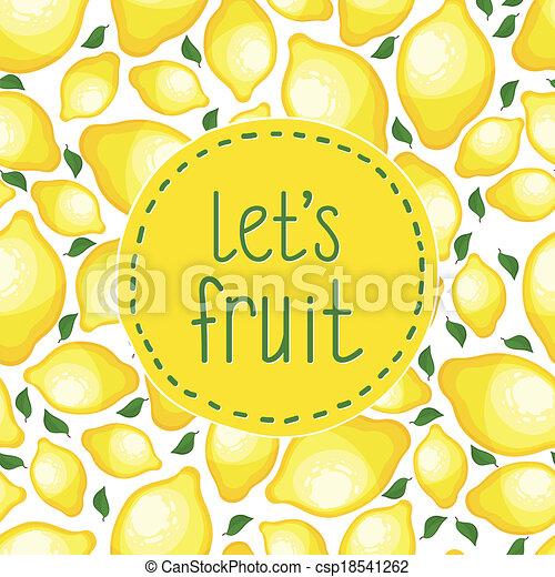 Seamless pattern of lemons, vector illustration. - csp18541262