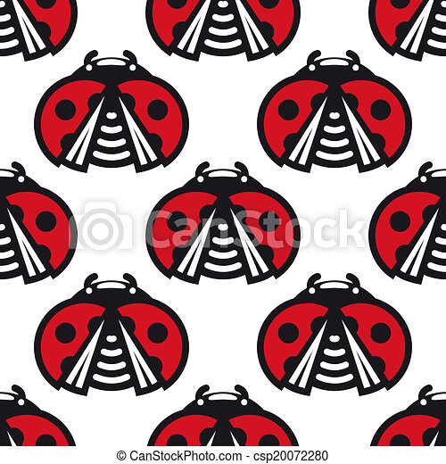Seamless pattern of little spotted red ladybugs - csp20072280
