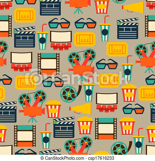 Seamless pattern of movie elements and cinema icons. - csp17616233