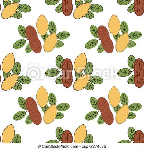 Seamless pattern of peanut in cartoon style - csp72274575