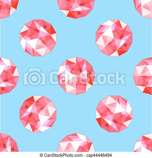 seamless pattern of realistic red ruby gems. Vector illustration. - csp44446494