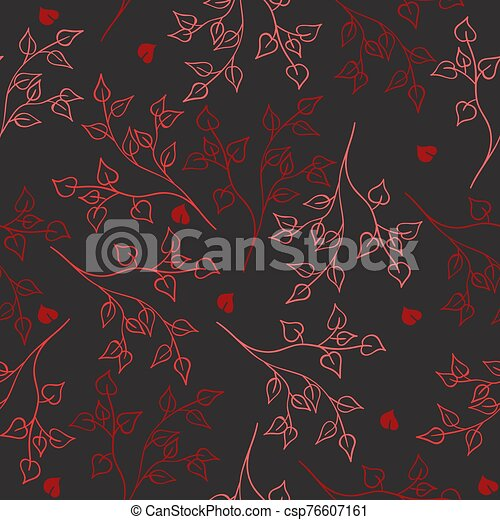 Seamless pattern of red branches on a gray background. Vector graphics. - csp76607161