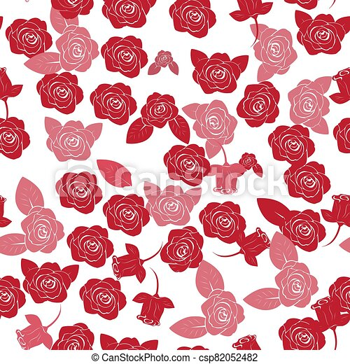 seamless pattern of red roses on a white background - csp82052482