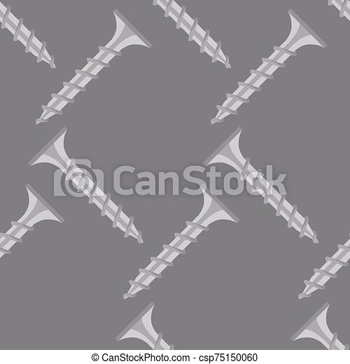 Seamless pattern of screws on a gray background. Vector. - csp75150060