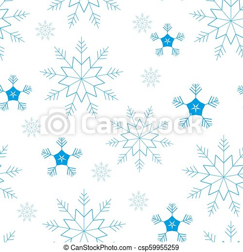 Seamless pattern of snowflakes and dots, blue on white background. - csp59955259