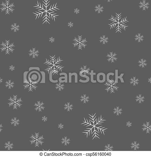 Seamless pattern of snowflakes on a black background - csp56160040