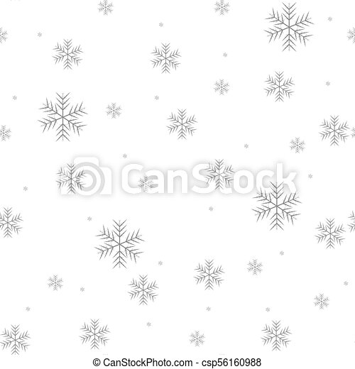 Seamless pattern of snowflakes on a white background - csp56160988