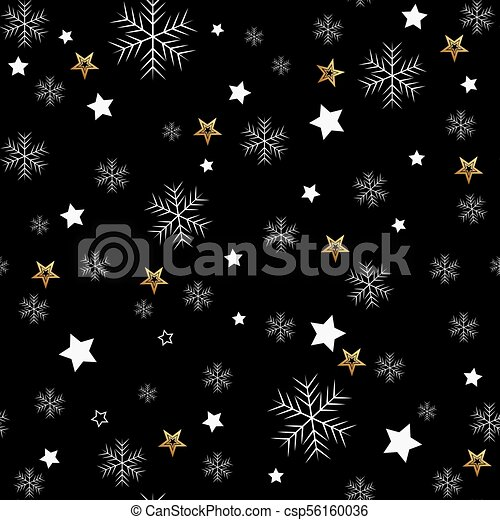 Seamless pattern of snowflakes on a black background - csp56160036