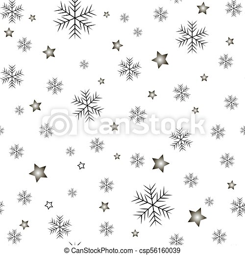 Seamless pattern of snowflakes on a white background - csp56160039