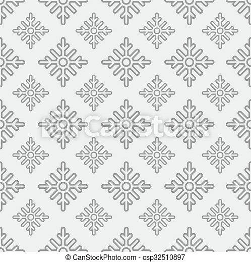 Seamless pattern of snowflakes on a gray background - csp32510897