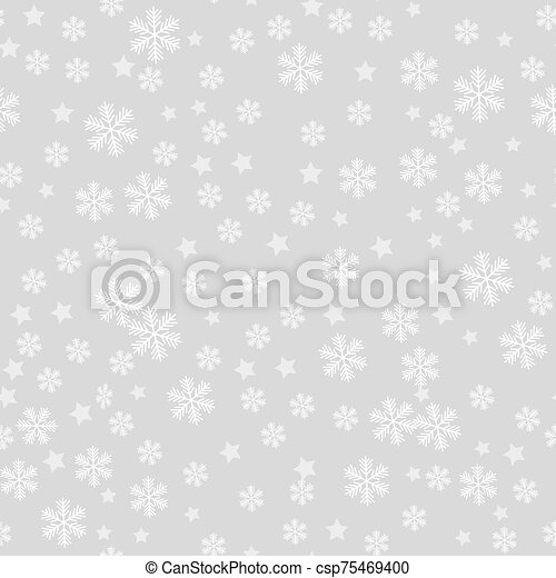 Seamless pattern of snowflakes on a gray background - csp75469400