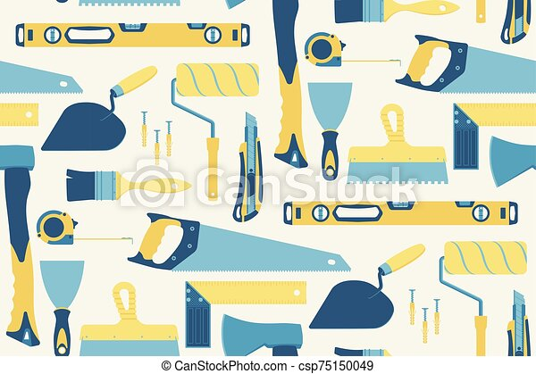Seamless pattern of tools for the repair of buildings on a light coloured background. Vector. - csp75150049