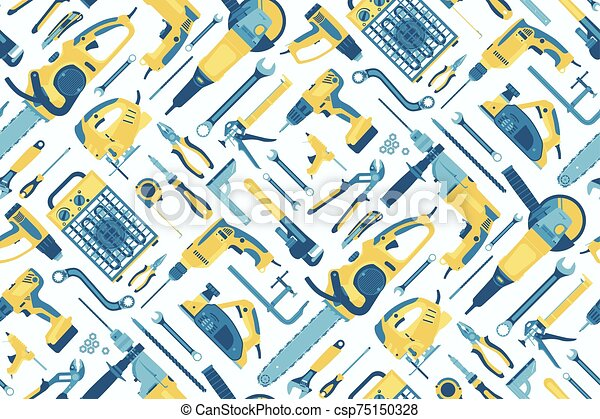 Seamless pattern of tools for the repair of buildings on a light coloured background. Vector. - csp75150328