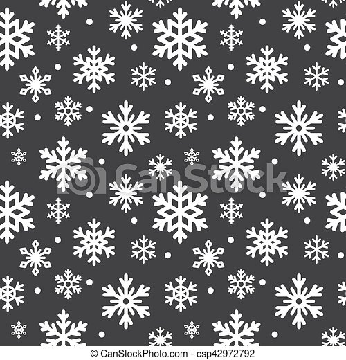 Seamless Pattern Of Winter Snowflakes Vector Background Repeated Texture For Surface Wrapping Paper Cute Snow Flakes