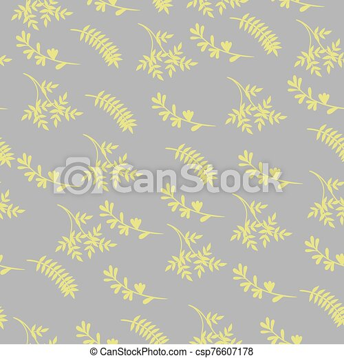 Seamless pattern of yellow leaves on a gray background. Vector graphics. - csp76607178