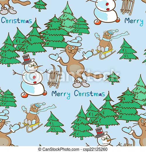 seamless pattern on a Christmas theme with snowman and cats - csp22125260