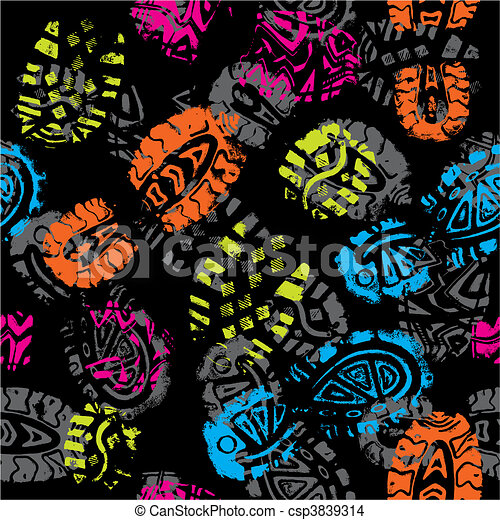 Seamless pattern, prints of foots of the child, vector - csp3839314