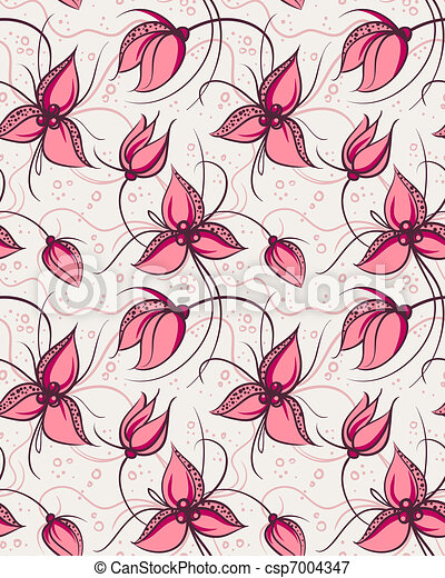 Seamless pattern red orchid flowers - csp7004347
