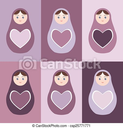 Seamless pattern Russian dolls matryoshka with hearts on purple background. Vector - csp25771771