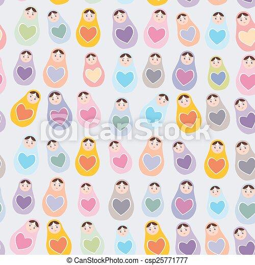 Seamless pattern Russian dolls matryoshka background with hearts. Vector - csp25771777