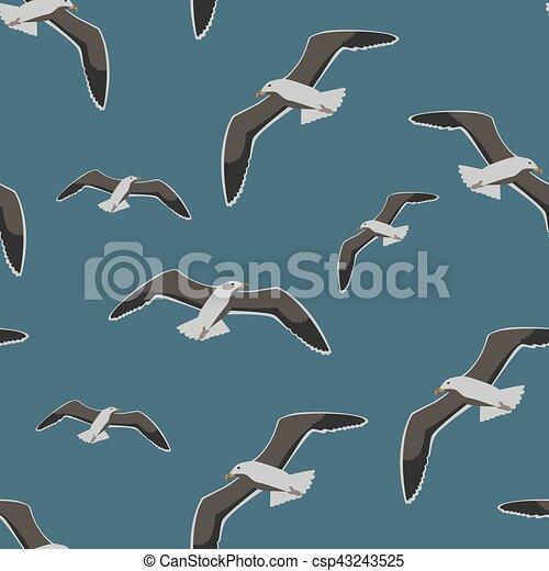 Seamless pattern sea gull - csp43243525