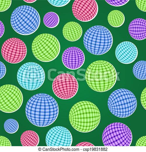 seamless pattern set with striped balls - csp19831882