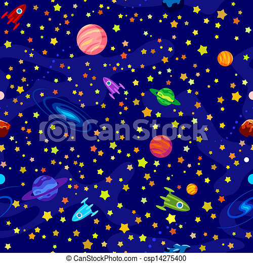 Seamless pattern space. Seamless pattern with planets ...