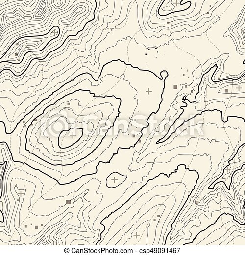 Seamless pattern. Topographic map background with space for copy Seamless texture. Line topography map contour background , geographic grid . Mountain hiking trail over terrain . - csp49091467
