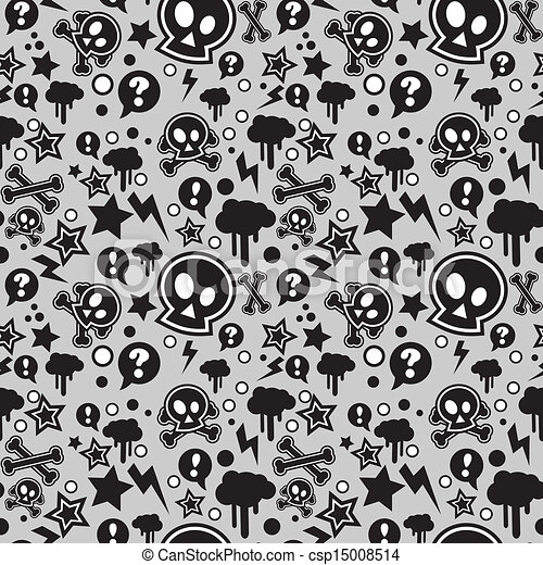 Seamless pattern, urban or punk pop feel - csp15008514