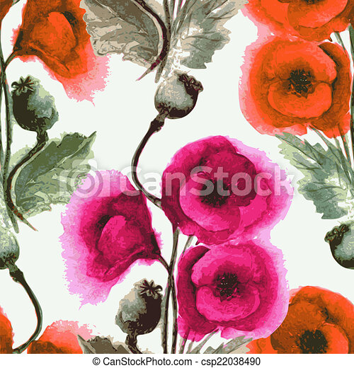 seamless pattern watercolor poppies - csp22038490