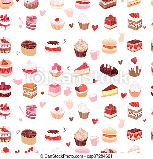 Seamless pattern wit different kinds of dessert. - csp37284621