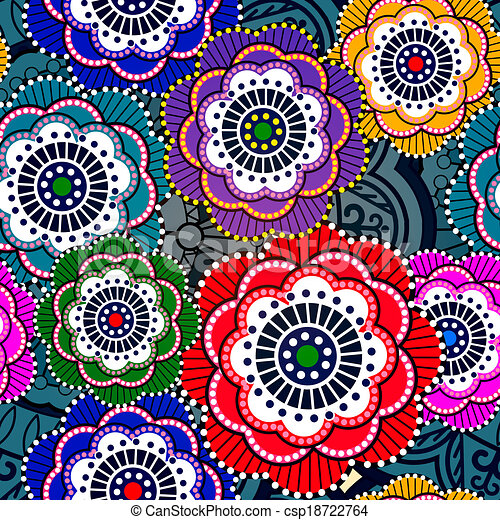 Seamless pattern with abstract flowers. EPS 10 - csp18722764