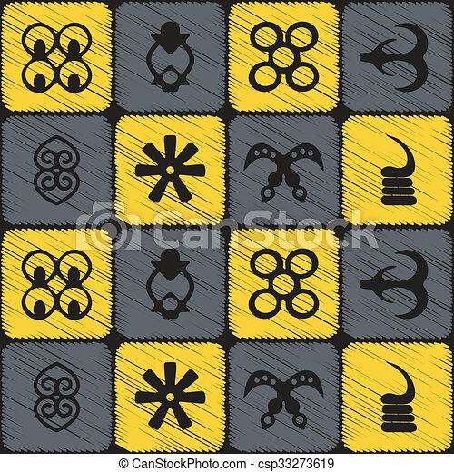 seamless pattern with adinkra symbols for your design