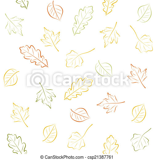Seamless pattern with autumn leaves - csp21387761