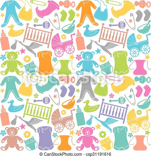 seamless pattern with baby icons  - csp31191616