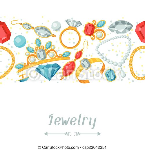 Seamless pattern with beautiful jewelry and precious stones. - csp23642351