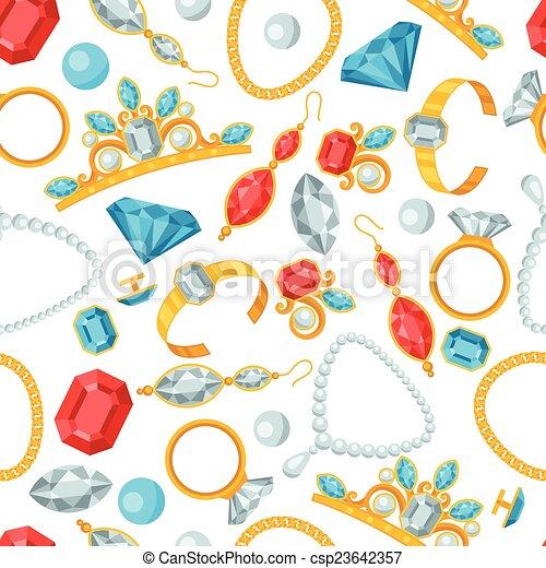 Seamless pattern with beautiful jewelry. - csp23642357