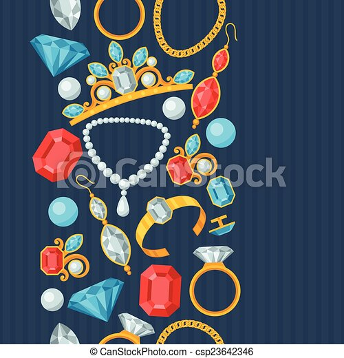 Seamless pattern with beautiful jewelry and precious stones. - csp23642346