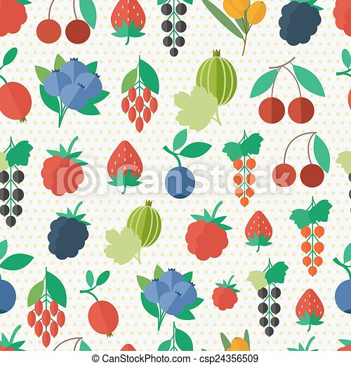 Seamless pattern with berries - csp24356509