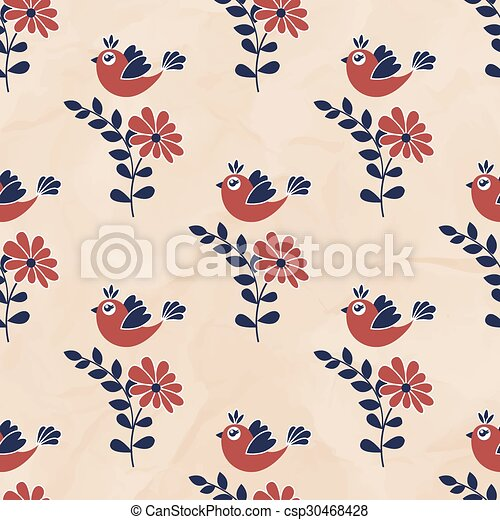 Seamless pattern with birds - csp30468428