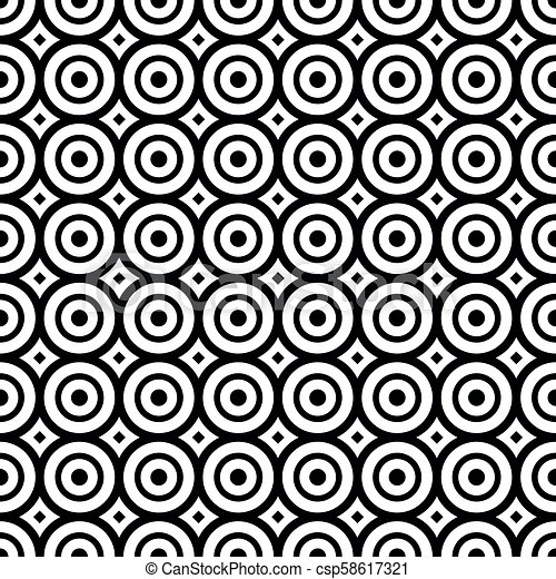 Seamless pattern with black and white circles - csp58617321