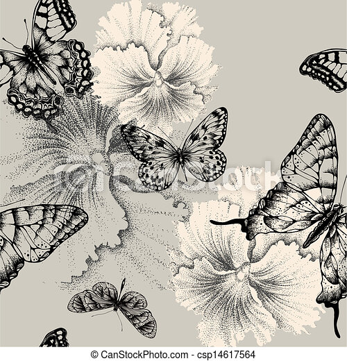 Seamless pattern with blooming pansies and butterflies. Vector illustration. - csp14617564