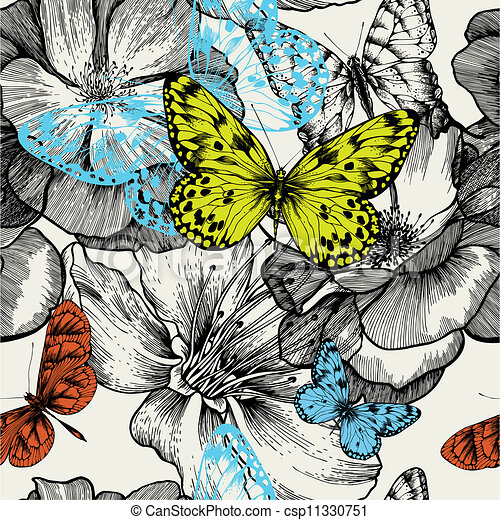 Seamless pattern with blooming roses and flying butterflies, hand drawing. Vector illustration. - csp11330751