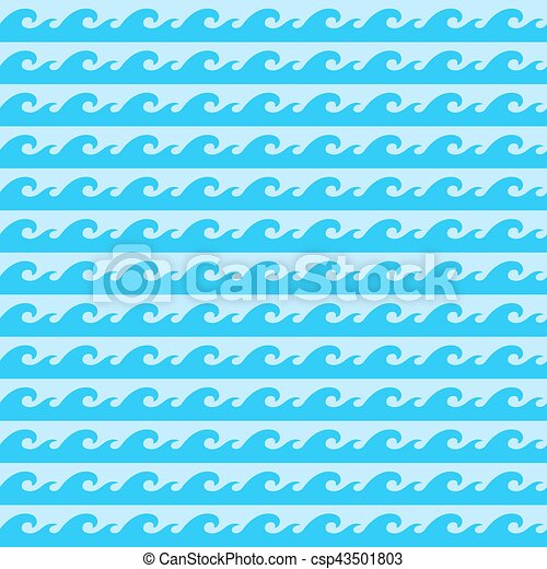 Seamless pattern with blue sea waves. Vector illustration - csp43501803
