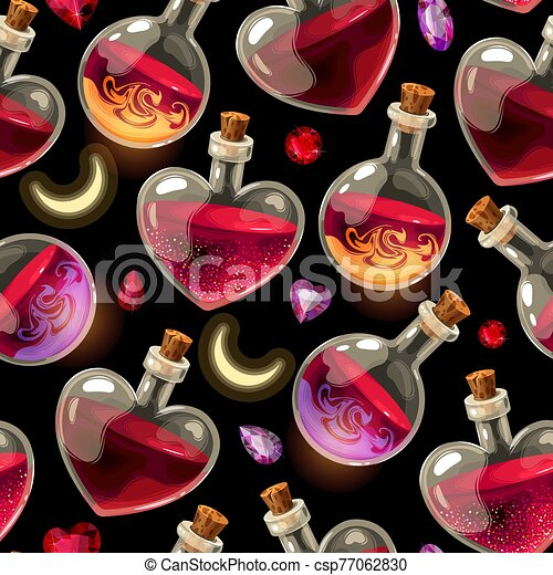 Seamless pattern with bottles of love potion - csp77062830